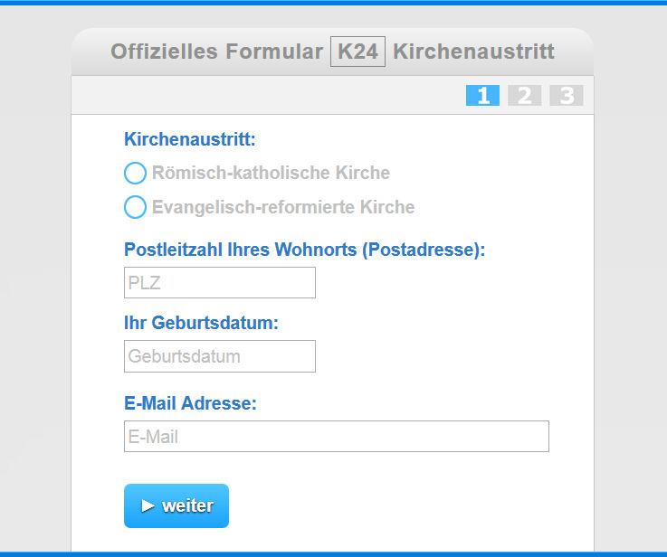 Formular K24 Kirchenaustritt